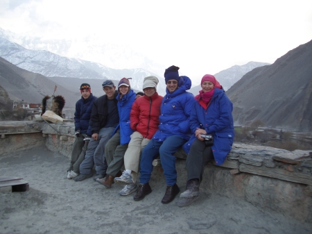 Pretty cold. The mountains of Mustang behind us.