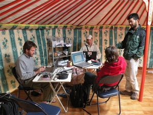 SLT Mongolia project team in yurt