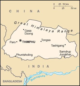 Map of Bhutan. Source Wikipedia