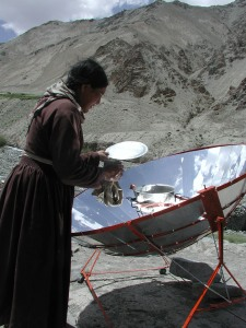 Solar cooking technology. Indian Himalayas. Photo by kind permission of Snow Leopard Conservancy.